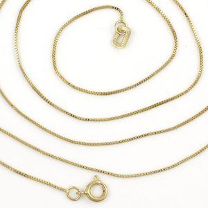 """Solid 14K Yellow Gold Italy Box Chain Necklace 24"""""""
